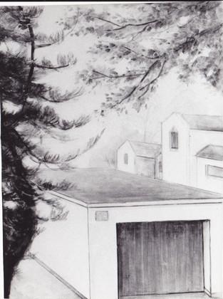 Bühnenmalerei und Entwurf , Straßenszene für Fensterausblicke von  Atelier Werkall, für die Theaterei Herrlingen, Blaustein bei Ulm 2003