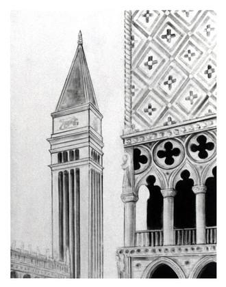 Bühnenmalerei und Entwurf Markusplatz von Venedig, für Fensterausblicke von  Atelier Werkall, für die Theaterei Herrlingen, Blaustein bei Ulm 2003