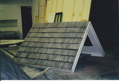 Bühnenmalerei  Altholz Imitation für das Ulmer Theater, Atelier Werkall, 1999