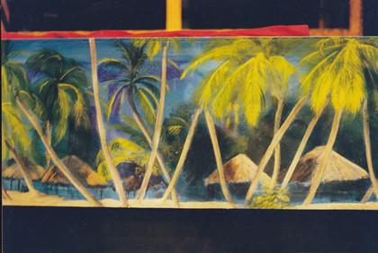 Bühnenmalerei und Airbrush, bemalte Leinwände, tapeziert, für das Ulmer Theater,  Atelier Werkall,1999