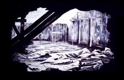 Bühnenbild und Bühnenmalerei -Bruch in der Wand- für die Theatergruppe Uferlos, 1989