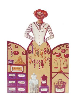 Bühnenmalerei Aufsteller Zuckerbäcker auf Holz,für Aschenputtel Weihnachtsmärchen, für das Staatstheater Nürnberg,